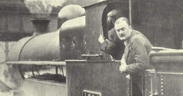 The aristocratic grandson of the 2nd Earl of Lichfield working as a volunteer train driver during the General Strike of 1926.PNG